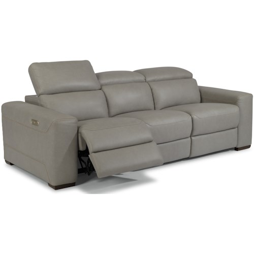 Flexsteel Lexon Contemporary Sectional Reclining Sofa with Power Headrests