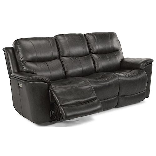 Flexsteel Cade Power Recline, Power Headrest & Power Lumbar Sofa