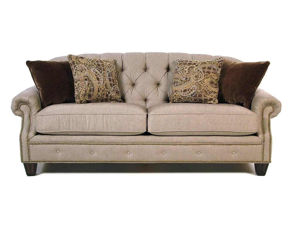 Flexsteel Champion Transitional Button Tufted Sofa With Rolled Arms And  Nailheads | Rotmans | Sofas