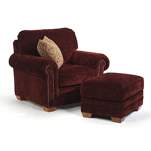 Flexsteel Harrison Upholstered Chair and Ottoman
