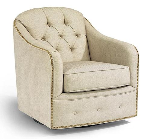 Flexsteel Accents Fairchild Swivel Chair with Nailhead Trim