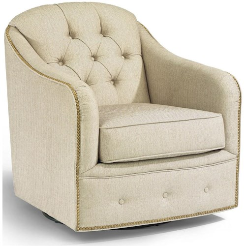 Flexsteel Accents Fairchild Swivel Chair with Nailhead Trim