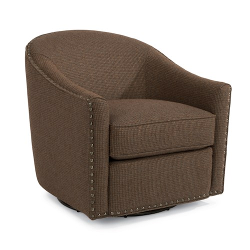 Flexsteel Accents Kedzie Swivel Chair with Large Nailhead Border