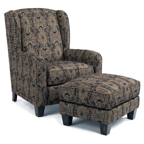 Flexsteel Accents Perth Wing Chair And Ottoman With