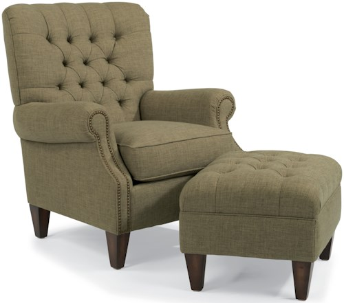 Flexsteel Accents Azalea Button-Tufted Chair with Transitional Rolled Arms