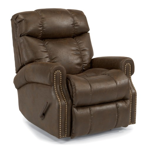 Flexsteel Accents Morrison Swivel Gliding Recliner with Nailheads