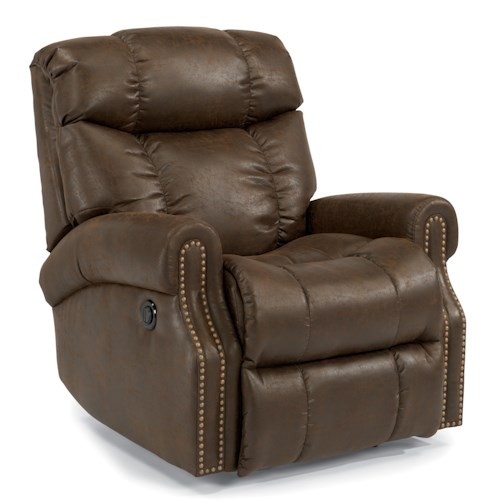 Flexsteel Accents Morrison Power Rocking Recliner with Nailheads