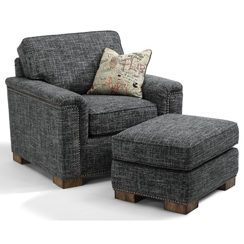 Flexsteel Accents Chair and Ottoman with Block Wood Feet and Nailhead Trim