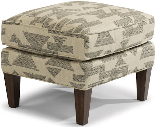Flexsteel Ace Transitional Ottoman with Tall, Tapered Legs