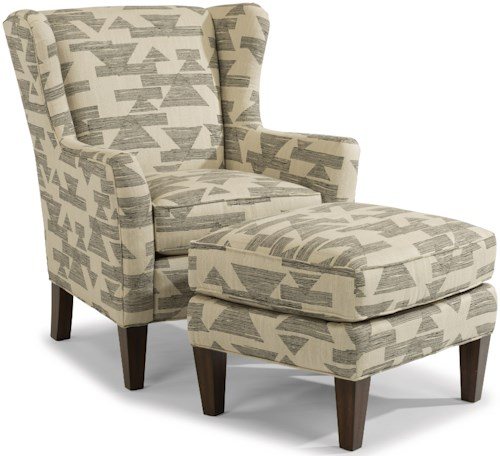 Flexsteel Ace Transitional Chair and Ottoman Set with Tall, Tapered Legs
