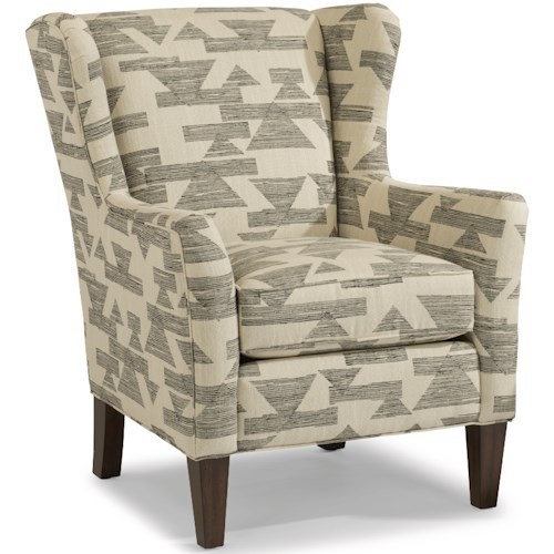 Flexsteel Ace Transitional Wing Chair with Tall, Tapered Legs