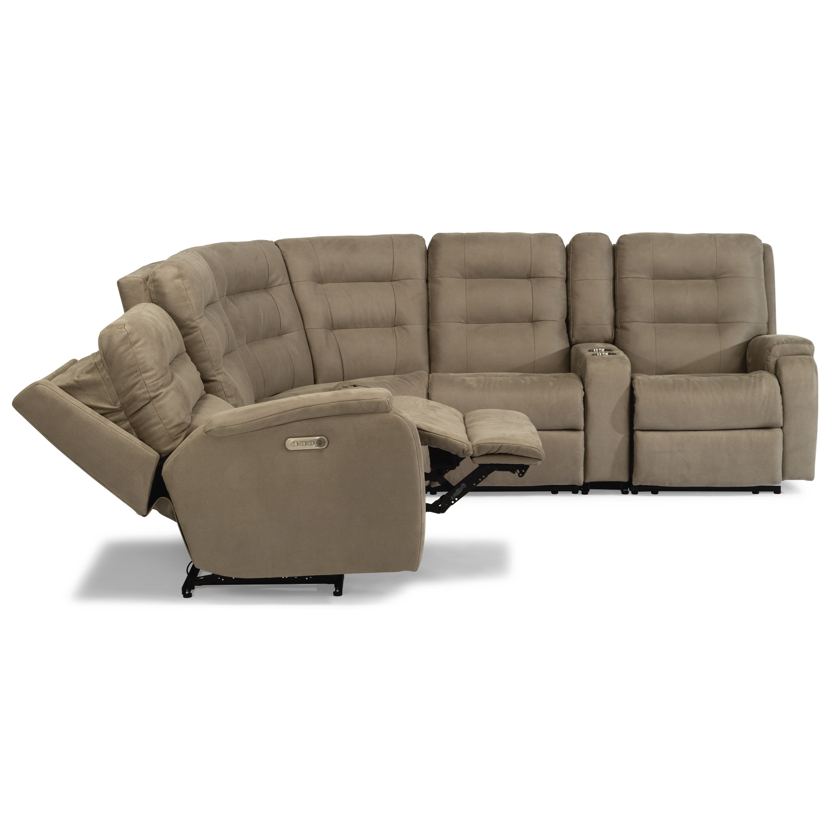 Contemporary 6-Piece Reclining Sectional with Cupholders