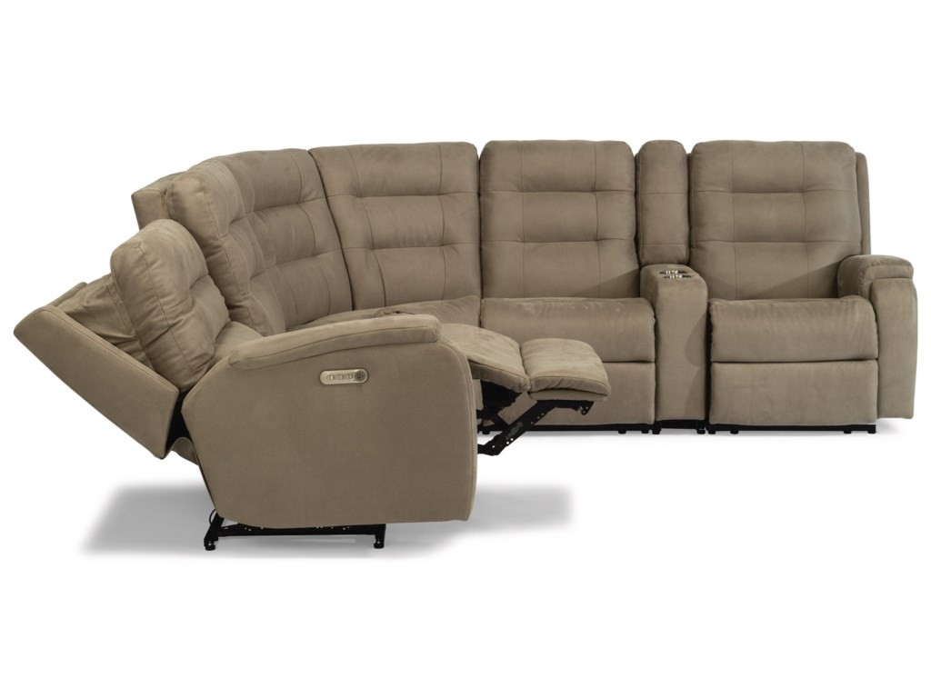 Flexsteel Arlo6-Piece Power Headrest Reclining Sectional
