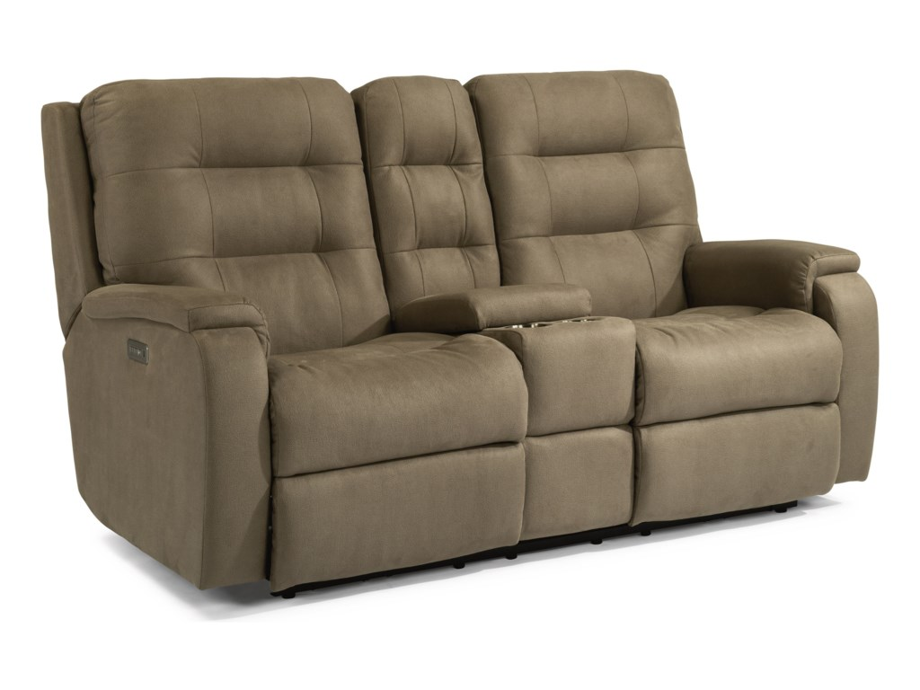 Flexsteel ArloPower Headrest Reclining Console Loveseat