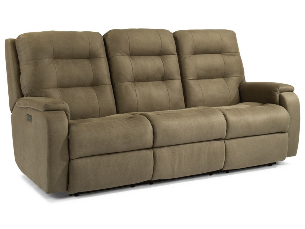 Flexsteel ArloPower Headrest and Lumbar Reclining Sofa