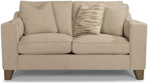 Flexsteel Arrow Contemporary Love Seat with Wrap-Around Track Arms