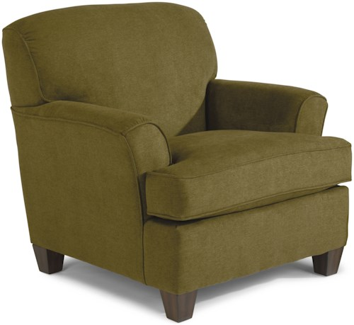 Flexsteel atlantis casual chair with rounded flare arms for Furniture 0 percent financing