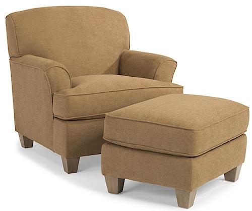 Flexsteel Atlantis Casual Chair and Ottoman Set