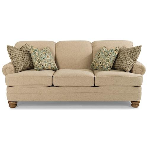 Flexsteel Bay Bridge Traditional Rolled Back Sofa