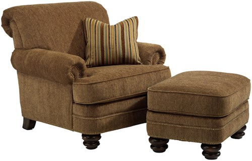 Flexsteel Bay Bridge Traditional Rolled Back Chair & Ottoman Set
