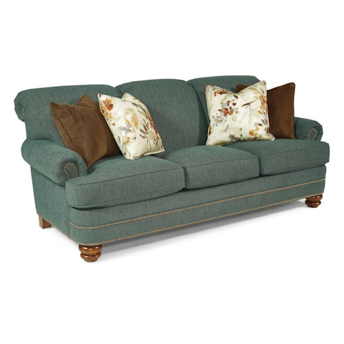 Flexsteel Knightsbridge Traditional Rolled Back Sofa