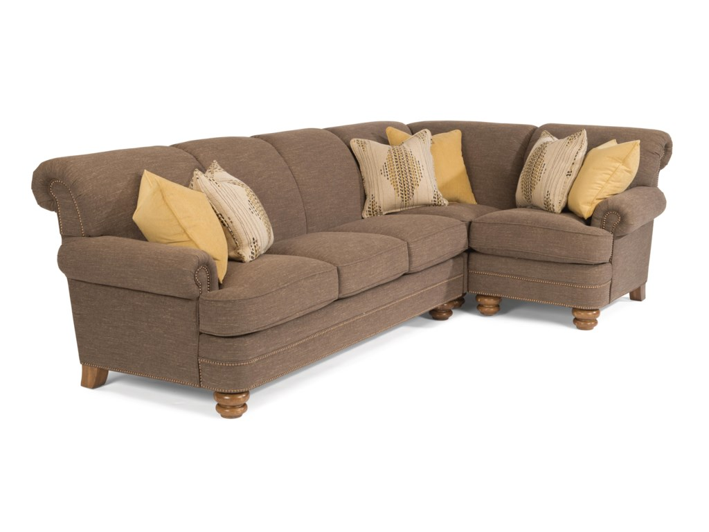 Flexsteel Bay Bridge Two Piece Sectional Sofa With Raf Corner Dunk Bright Furniture