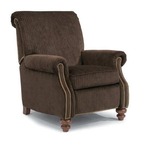 Flexsteel Bay Bridge Traditional Power Motion High Leg Recliner with Rolled Back