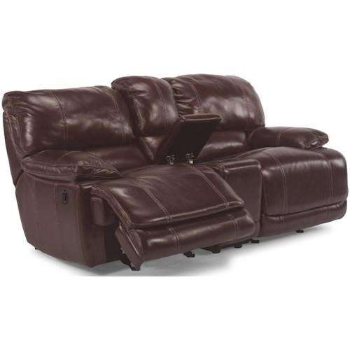 Flexsteel Latitudes - Belmont Power Dual Gliding Reclining Love Seat with Console