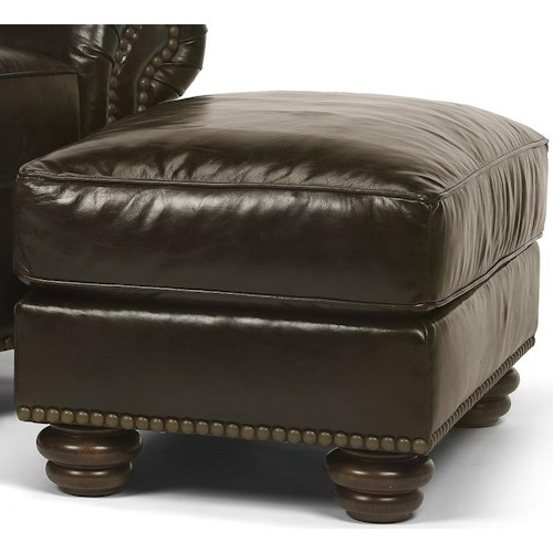 Flexsteel Bexley Traditional Ottoman with Nail Head Trim