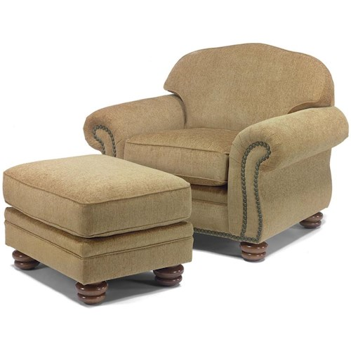 Flexsteel Bexley Traditional Chair And Ottoman With Nail Head Trim
