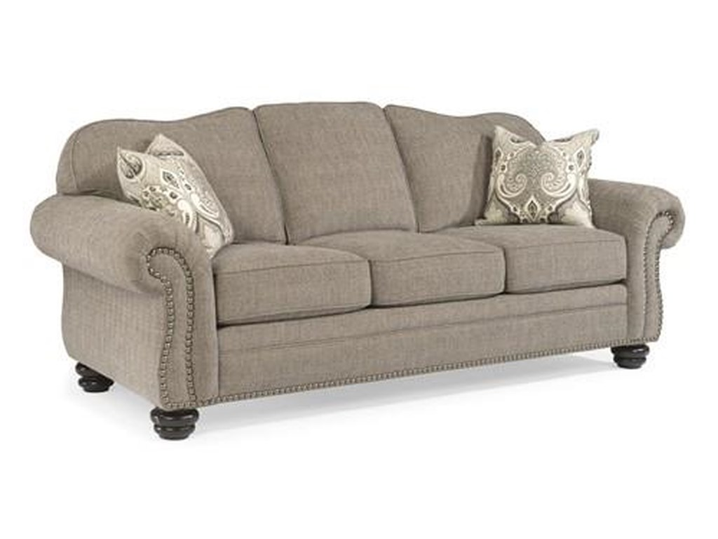 Flexsteel Bexley 8648 31 Gray Traditional Sofa With Nail Head Trim Dunk Bright Furniture