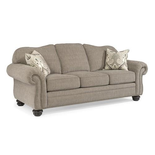 Flexsteel Bexley 8648 31 Gray Traditional Sofa With Nail Head Trim | Dunk U0026  Bright Furniture | Sofa