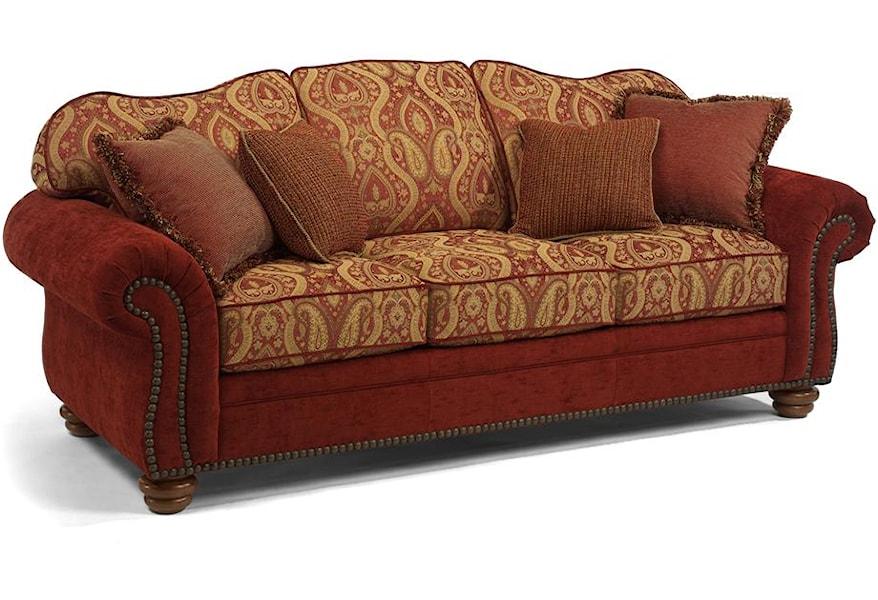 Sensational Flexsteel Bexley Traditional Sofa With Nail Head Trim Dailytribune Chair Design For Home Dailytribuneorg