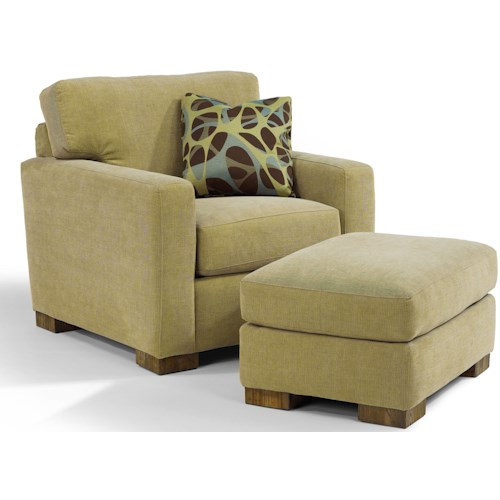 Flexsteel Bryant Contemporary Chair and Ottoman with Exposed Wooden Legs
