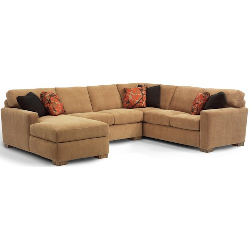 Flexsteel Bryant Contemporary Sectional Sofa with 3 Modular Pieces