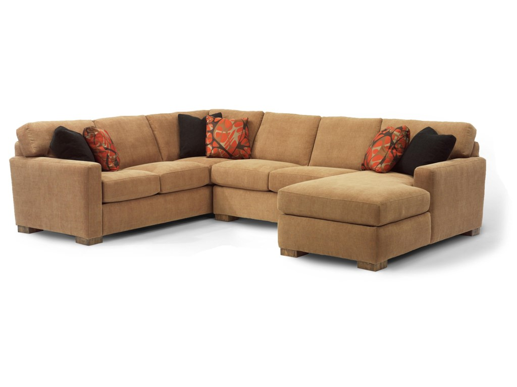 Landon Contemporary Sectional Sofa with 3 Modular Pieces by Flexsteel at  Crowley Furniture & Mattress