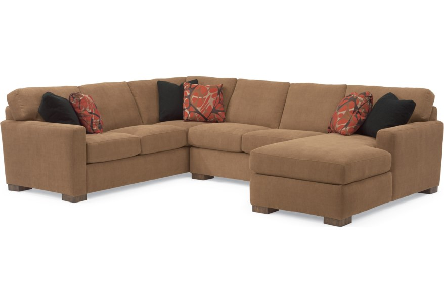 Bryant Contemporary Sectional Sofa with 3 Modular Pieces by Flexsteel at  Dunk & Bright Furniture