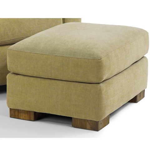 Flexsteel Bryant Contemporary Ottoman with Block Wood Feet