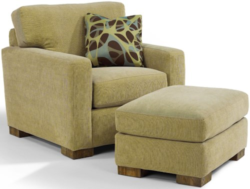 Flexsteel Bryant Contemporary Chair and Ottoman with Block Wood Feet