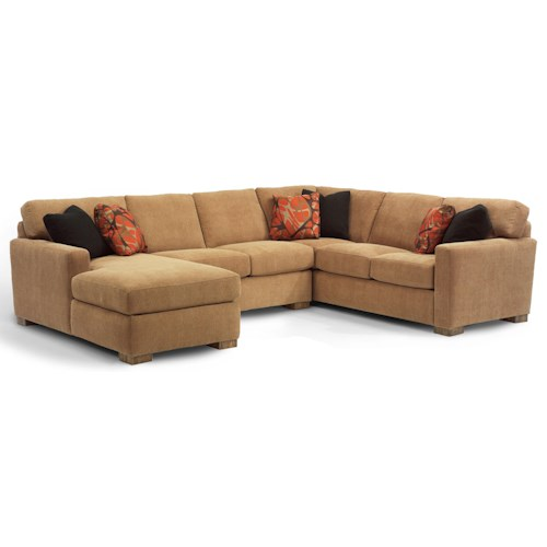 Flexsteel bryant contemporary 3 pc sectional sofa with for 3pc sectional with chaise