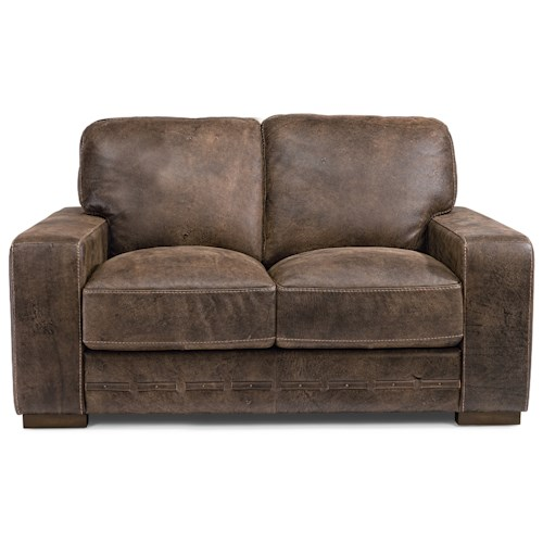 Flexsteel Buxton Contemporary Leather Love Seat