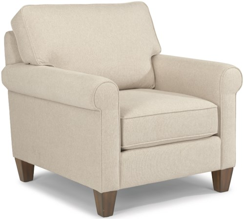 Flexsteel Calvin Transitional Chair with Rolled Arms