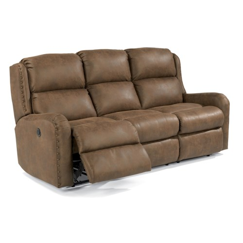 Flexsteel Cameron Rustic Power Reclining Sofa with Oversized Nailheads