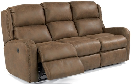 Flexsteel Cameron Rustic Reclining Sofa with Oversized Nailheads