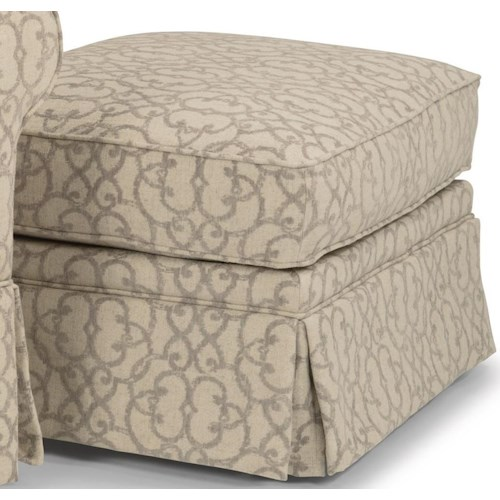 Flexsteel Camilla Casual Ottoman with Skirted Base and Casters