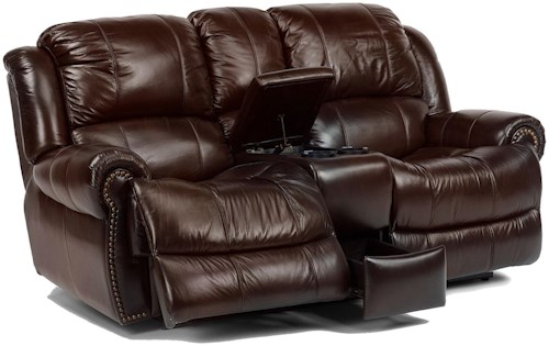 Flexsteel Latitudes - Capitol Traditional Styled Power Love Seat with Cup Holders and Storage Space