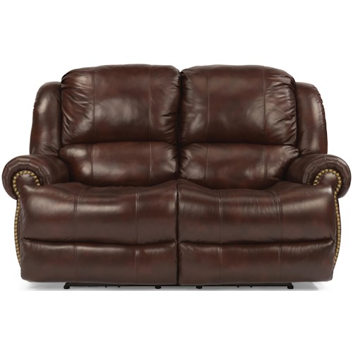 Flexsteel Capitol Traditional Styled Power Reclining Loveseat