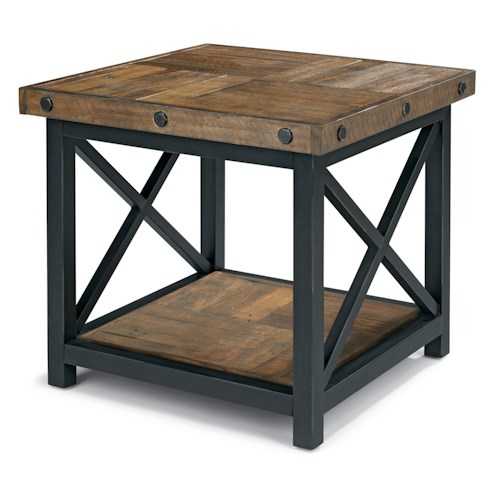 Flexsteel Carpenter Square End Table with Wood Plank Top