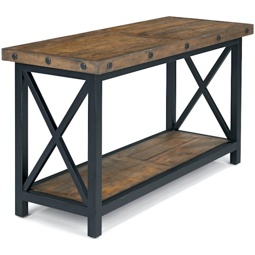 Flexsteel Carpenter Sofa Table with Rectangle Wood Plank Top and 1 Shelf