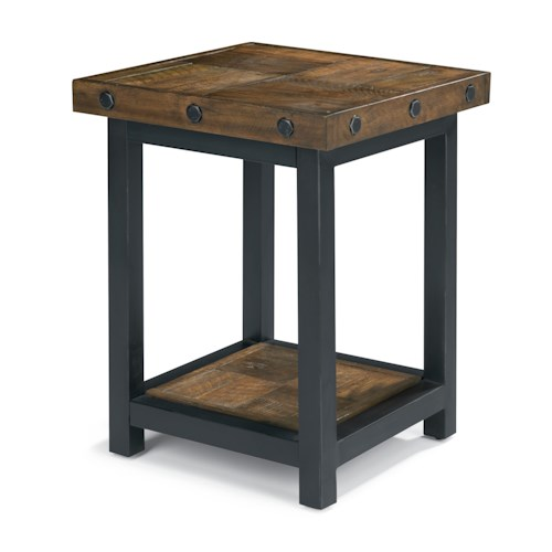 Flexsteel Carpenter Chair Side Table with Square Reclaimed Wood Top